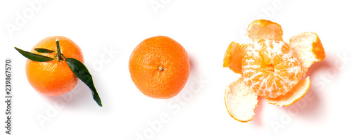 Ripe orange mandarine, tangerine, clementine with leaves isolated on white background, top view - 239867570
