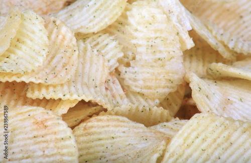 Fotografie, Obraz  many of potato chips horizontal texture