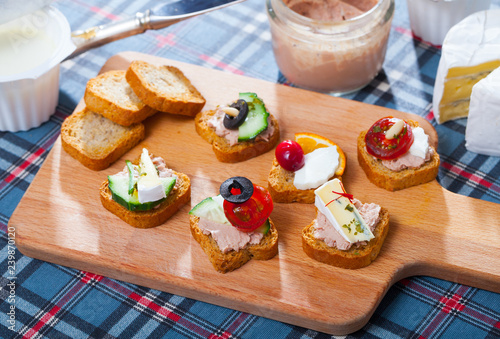 Assorted homemade canape appetizers