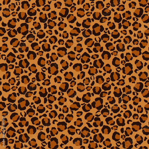 Photo  Leopard Print Seamless Pattern - Leopard print design in brown, orange, and gold