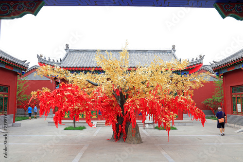 red prayer flag tree in Confucian temple, China Canvas-taulu