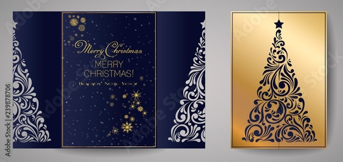 Laser cut template for Christmas cards, square invitation