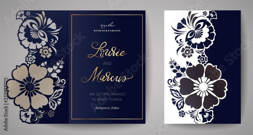 Fototapety, obrazy: Wedding Floral Invitation for laser cutting.