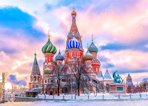 Poster Moscow St. Basil's Cathedral on Red Square in Moscow