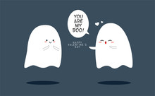 """A Ghost Saying """"You Are My Boo"""" To Other Ghost. Valentine's Vector Illustration"""
