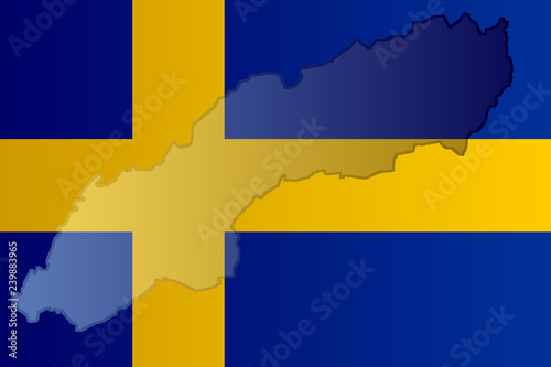 Fotografía Graphic illustration of a Swedish flag with a contour of its borders