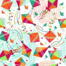 Seamless Pattern With Different Colors Kites. Vector Illustration