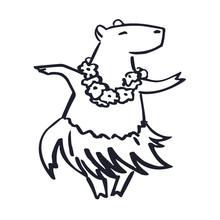 Cute Hawaii Costumed Dancer Cartoon Capybara Mascot