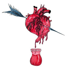 Watercolor Illustration With Bleeding Human Heart Pierced By An Arrow.