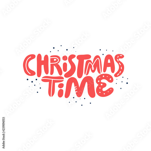 Christmas time hand drawn red vector lettering
