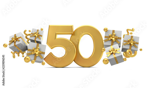 Papel de parede  Number 50 gold birthday celebration number with gift boxes