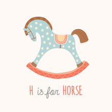 ABC Kids Wall Art. Toy Alphabet Card. Nursery Alphabet Poster Wall Art. Playroom Decor. H Is For Horse. Blue Rocking Horse. Cartoon Vector Clipart Eps 10 Illustration Isolated On White Background.