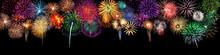 Großes Silvester Feuerwerk Als Panorama Hintergrund
