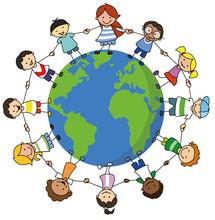 Happy Kids Holding Hands On World Illustration , Children Around The World -