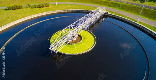 Foto auf AluDibond Blaue Nacht Aerial view to sewage treatment plant. Grey water recycling. Waste management in European Union.