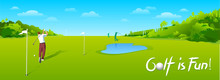 Countryside Golf Course With Flags, Greens And Sand Bunker. Banners Vector Image Of Sports Equipment For Golf, Putter, Golfer, Ball, Hole.