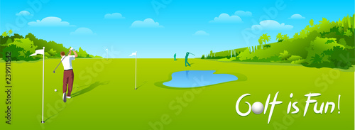 Foto op Aluminium Lime groen Countryside golf course with flags, greens and sand bunker. Banners vector image of sports equipment for Golf, putter, golfer, ball, hole.