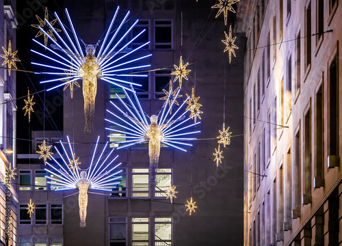Canvas Print Christmas decorations at Piccadilly, London