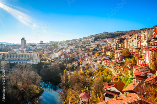 Photo Stands Eastern Europe Aerial view of Veliko Tarnovo in a beautiful autumn day, Bulgaria
