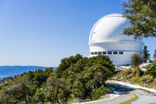 Road Leading To Shane Telescope, Part Of The Lick Observatory Complex On Top Of Mt Hamilton, On A Rare Snowy Winter Day, San Jose, South San Francisco Bay Area, California
