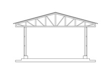 Abstract Outline Drawing, Space Frame Structure Of Warehouse Vector Illustration