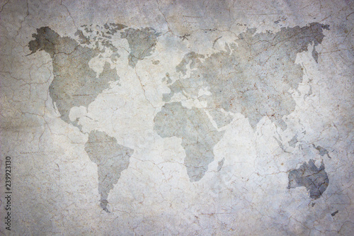 Photo  World map vintage pattern/ art concrete texture on background in black