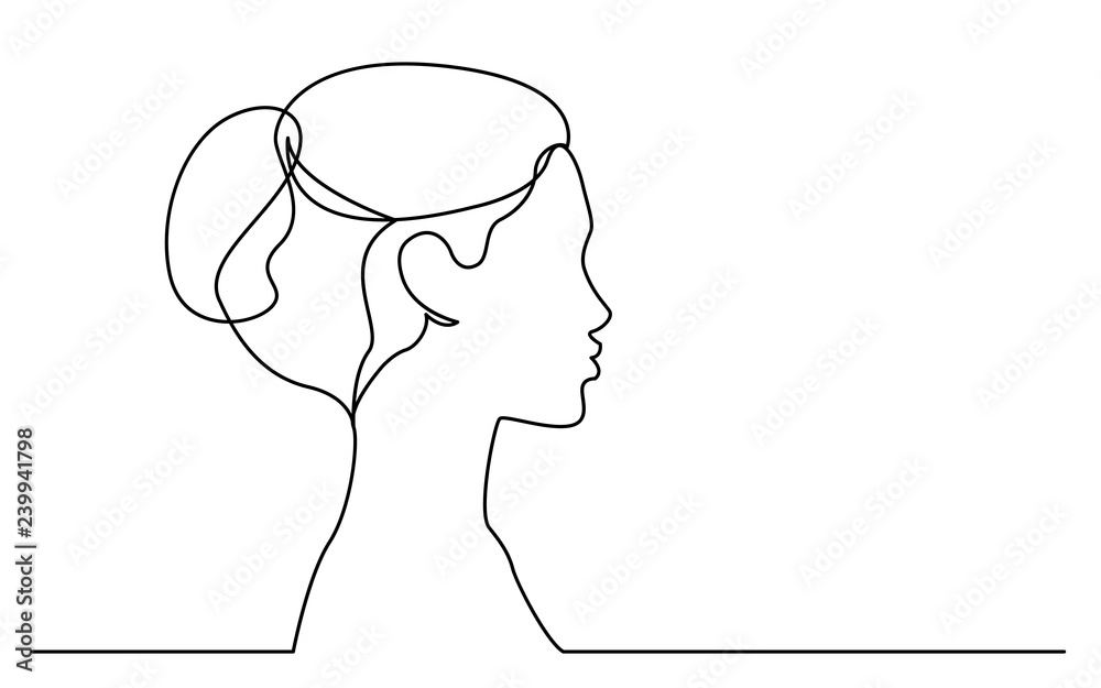 Fototapeta continuous line drawing of isolated on white background profile portrait of young beautiful woman