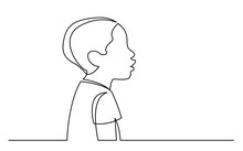 Continuous Line Drawing Of Isolated On White Background Profile Portrait Of Young African Boy