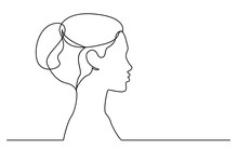 Continuous Line Drawing Of Isolated On White Background Profile Portrait Of Young Beautiful Woman