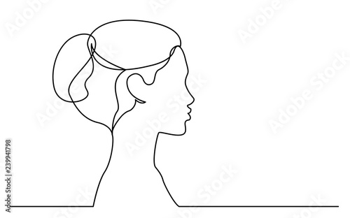 Fototapeta continuous line drawing of isolated on white background profile portrait of young beautiful woman obraz