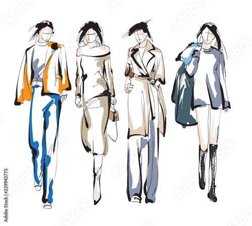Fashion girls sketch. Fashion illustration. Drawing fashion models Wall mural