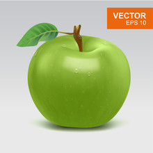 Realistic Whole Green Apple Vector Clipart, Icon, Mockup With Green Leaf And Water Drop