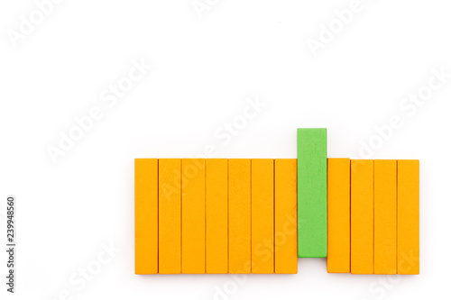 Fotografie, Obraz  green wooden block arrange with make a difference, outstanding performance conce