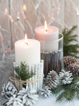 Christmas Candles, Cones On The Table
