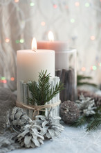 Christmas Candles, Cones On Th...