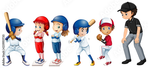 Set of baseball kids