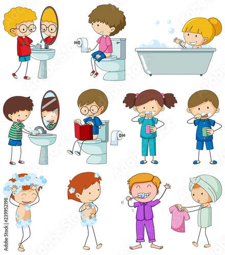 Poster Kids Set of doodle kid with daily routine