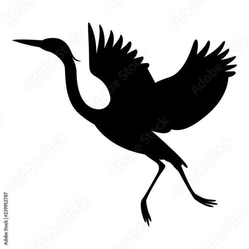 Fotomural heron  flying, vector illustration ,  black silhouette
