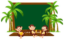 Three Monkey On Blackboard Tem...