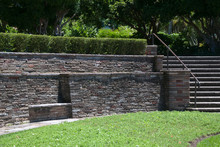 Sydney Australia, Dry Stone Wall In Garden With Staircase