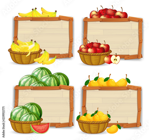 Poster Kids Set of fruit banner