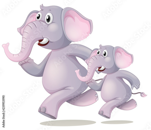 Poster Kids Elephant running on white background
