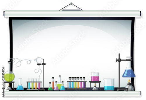 Poster Kids Projector screen with laboratory equipment