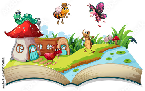 Poster Kids Insect on open book