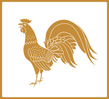 Golden Rooster Isolated On White Background