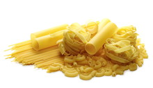 Various Raw Pasta Types Isolat...