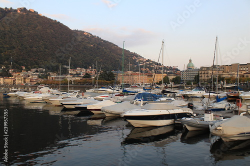 Deurstickers Poort Marina und Uferpromenade in Como