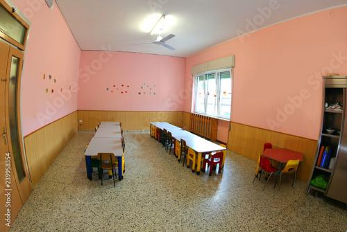 Fényképezés  inside a school classroom of a nursery school