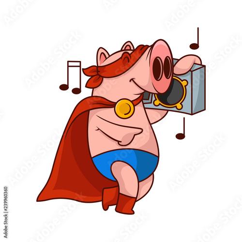 Photo Cheerful pig superhero listening music with tape recorder