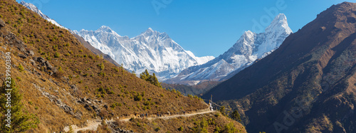 Everest, Lhotse and Ama Dablam summits. Canvas Print